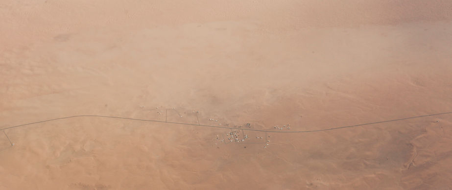 A street in the endless desert above the middle east.