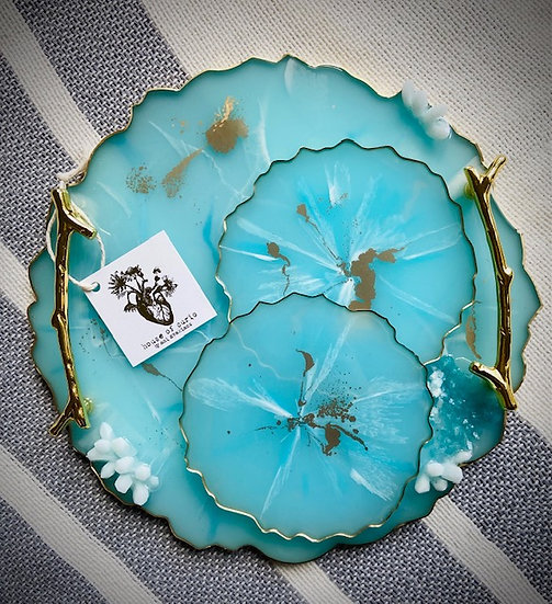 Designer Tray and Coasters