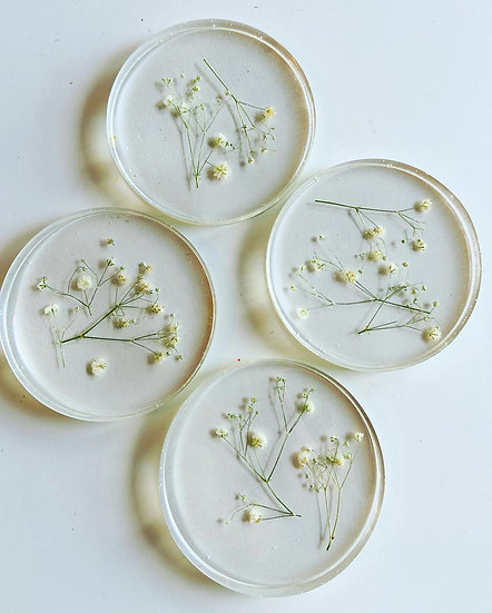 Round Baby's Breath Coasters