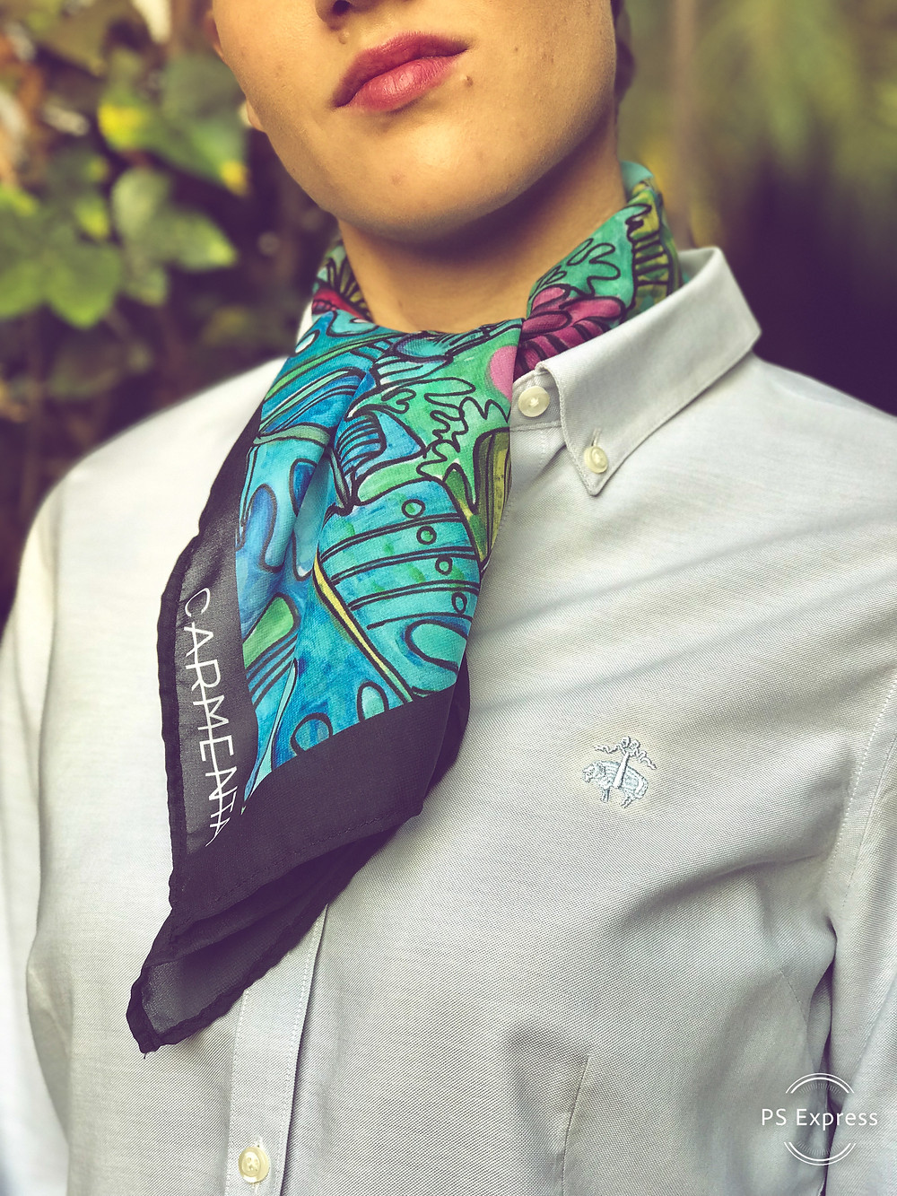 CARMENTA - model wearing scarf ascot knot tutorial, Costa Rica design and art printed on fabric