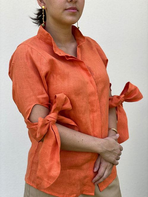 ¾ Sleeve Button-Up Linen Blouse