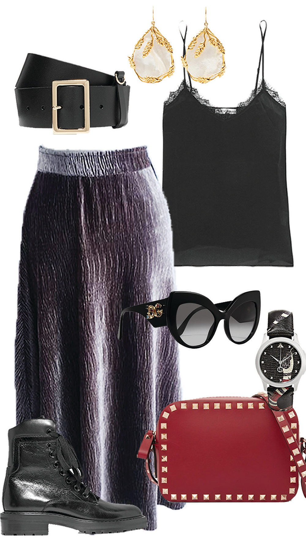 carmenta look casual - falda midi terciopelo