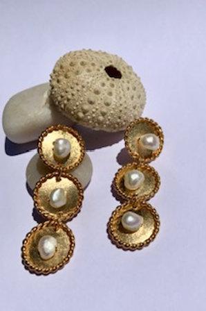3 Coins Pearl Braid Maxi Earring