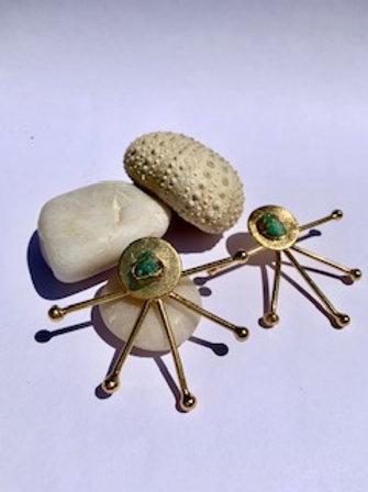 Half Sun Emerald Maxi Earring