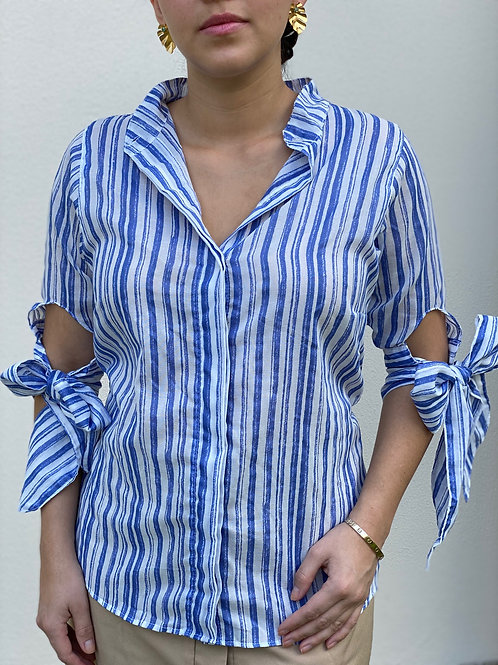 ¾ Sleeve Button-Up Cotton Blouse