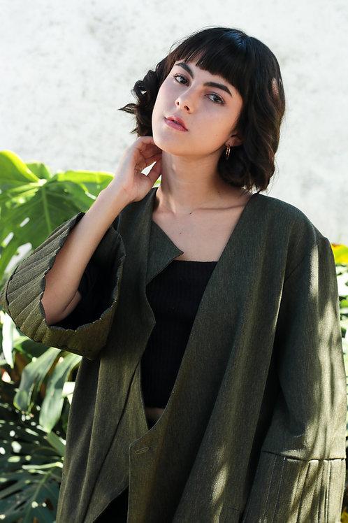 ¾ Sleeve Green Coat