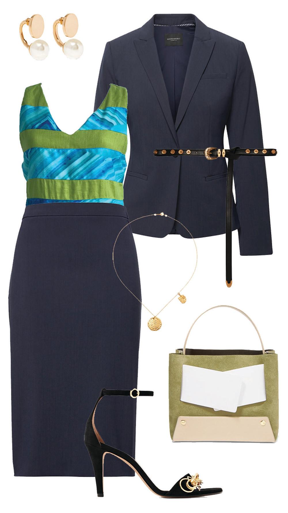 CARMENTA look oficina- blusa lino rayas