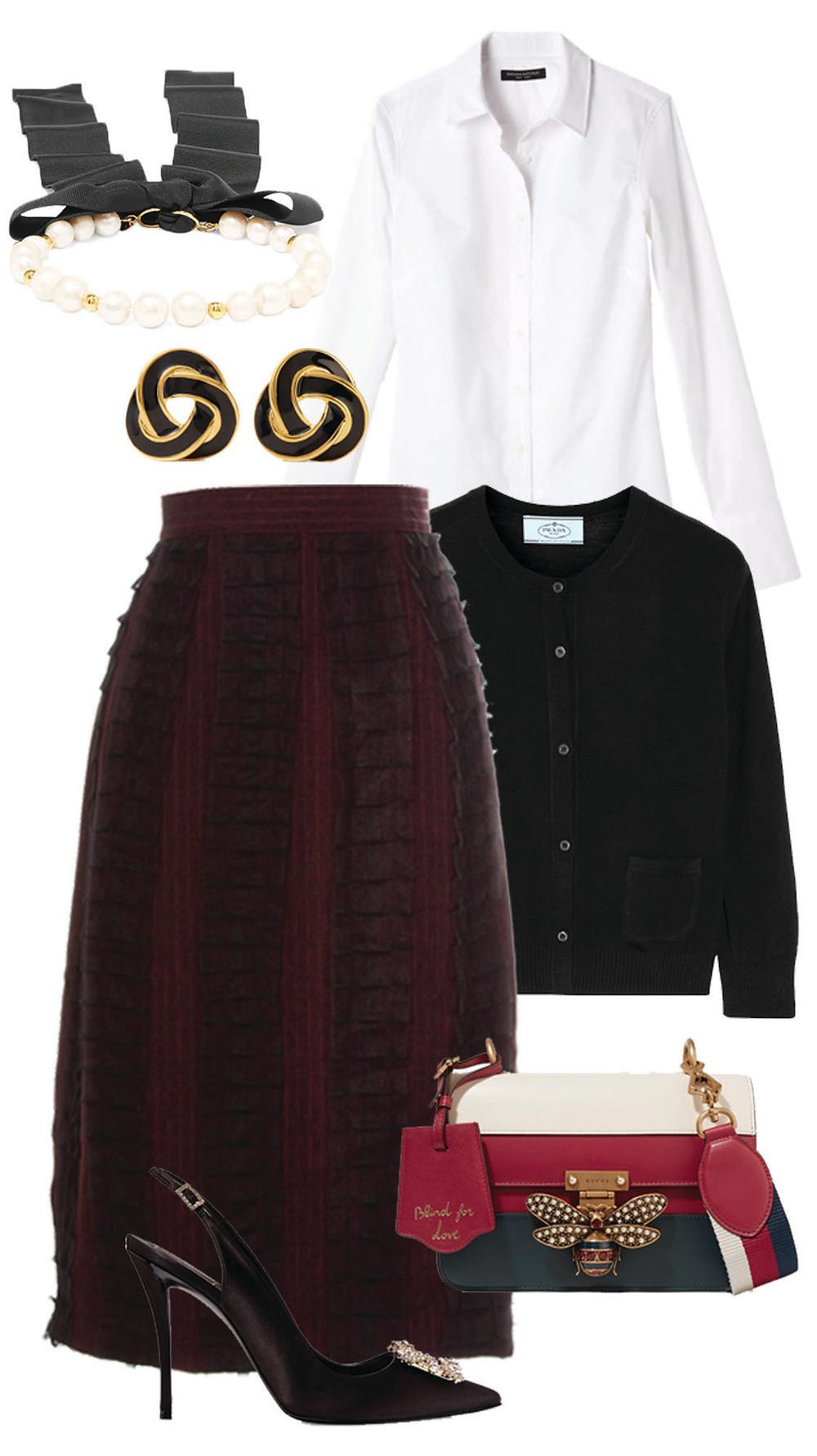 CARMENTA look oficina - falda lapiz texturizada