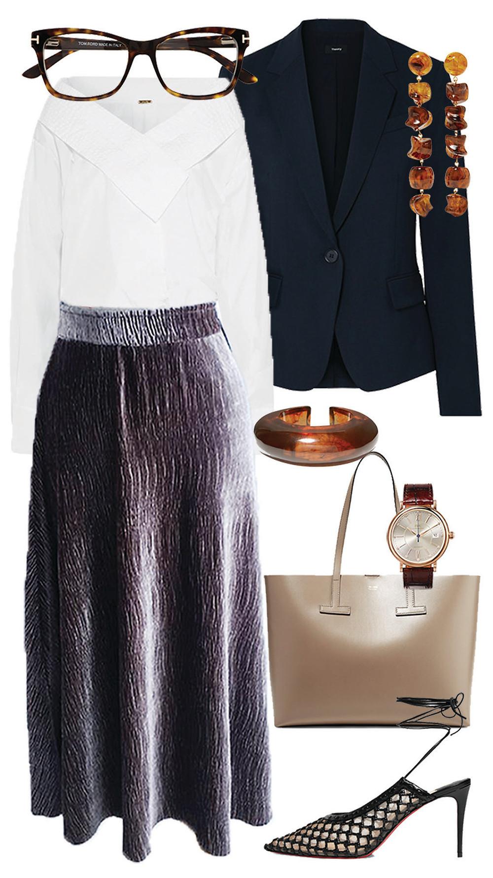 look de oficina - falda midi de terciopelo