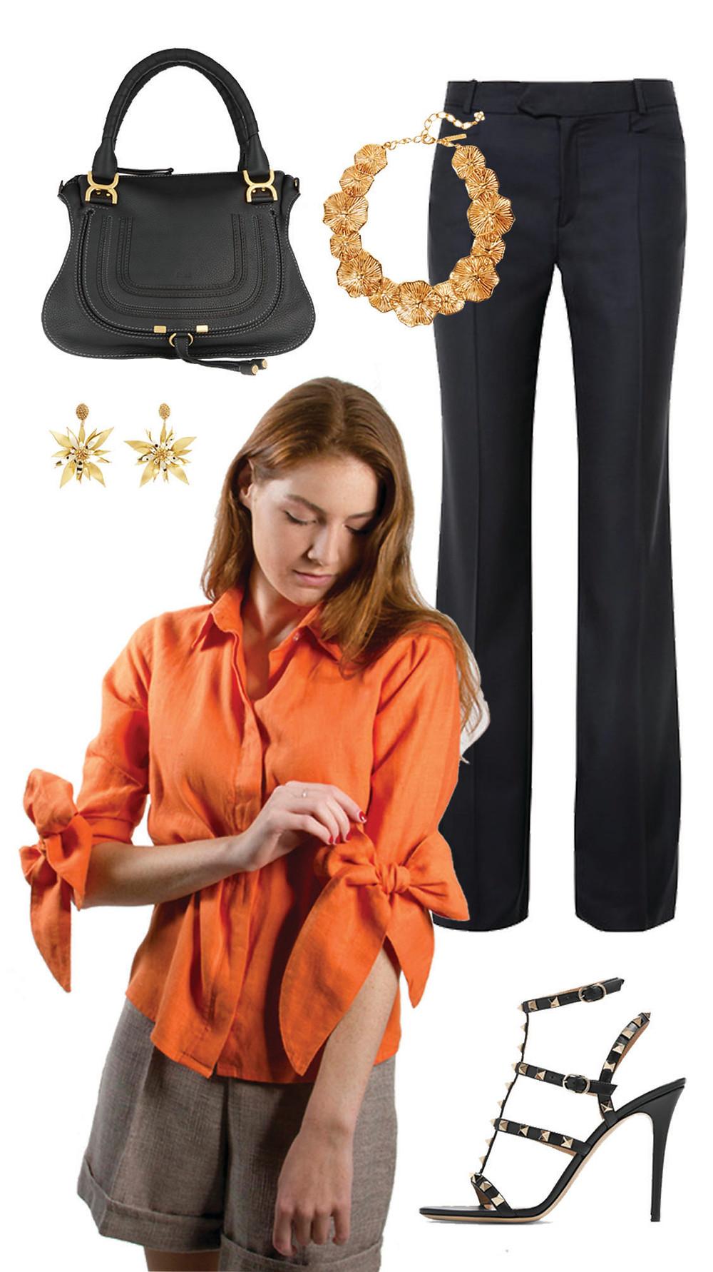 CARMENTA look oficina - blusa de lazos lino botones