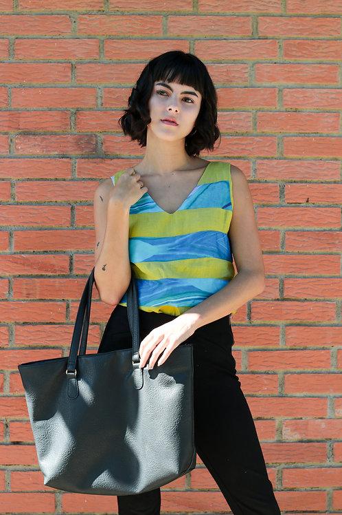 Striped Linen V-Neck Shirt
