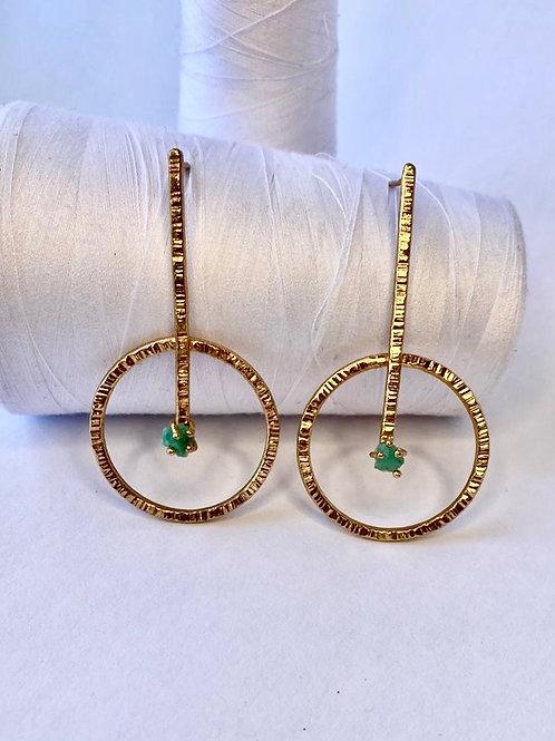 Circle Emerald Pendant Maxi Earring