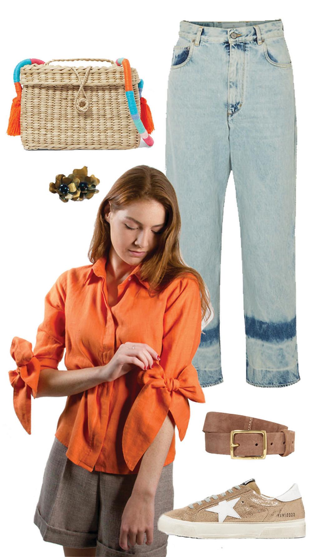 CARMENTA look outfit casual- Tie Linen Blouse/ blusa de lazos lino botones