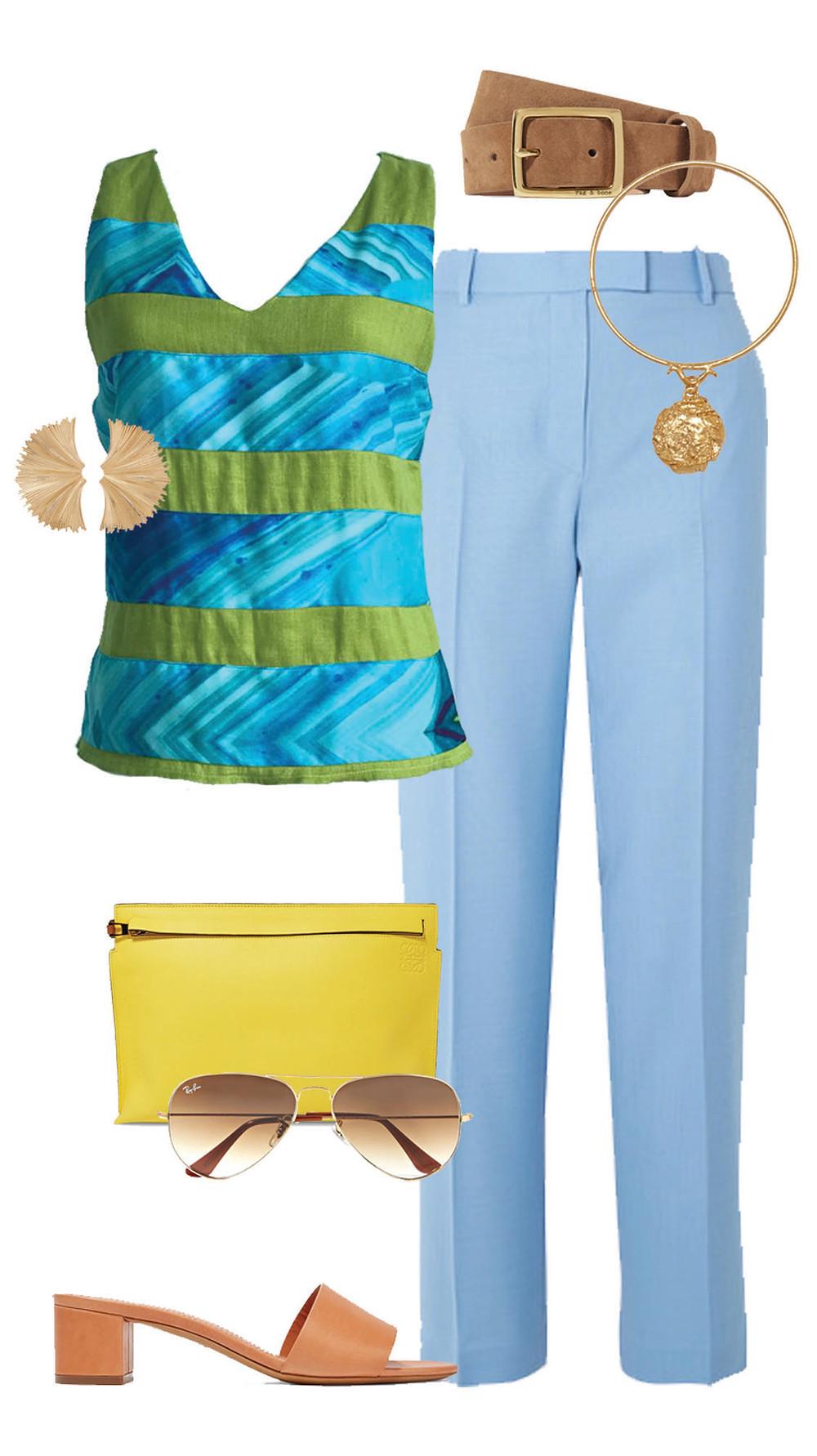 CARMENTA look fin de semana- blusa lino rayas