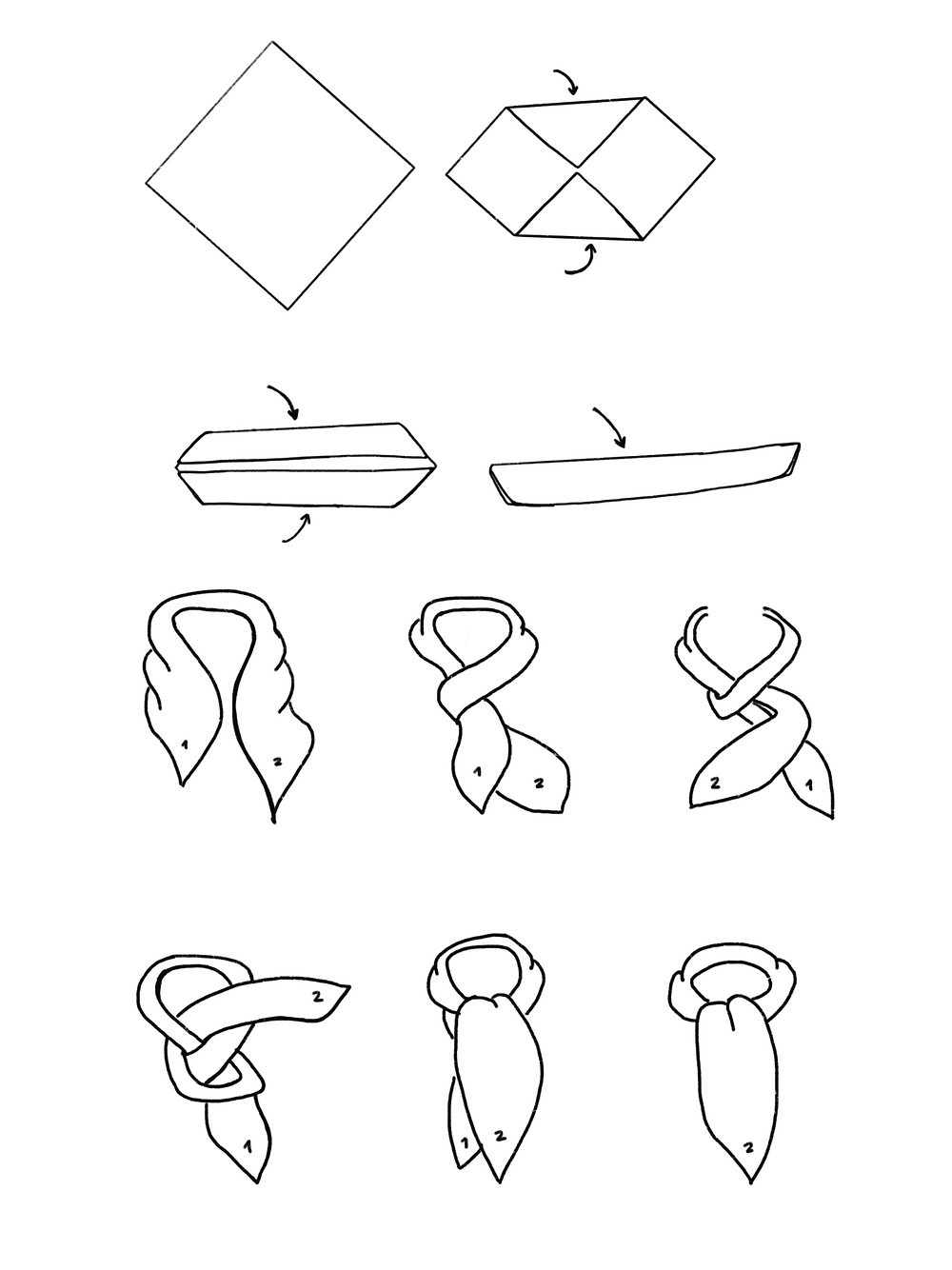 CARMENTA - drawing ascot knot tutorial, Costa Rica design and art printed on fabric