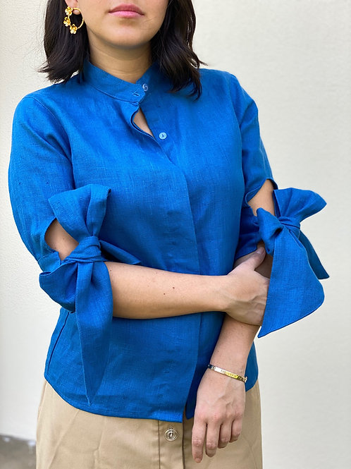 ¾ Sleeve Button-Up Linen Blouse