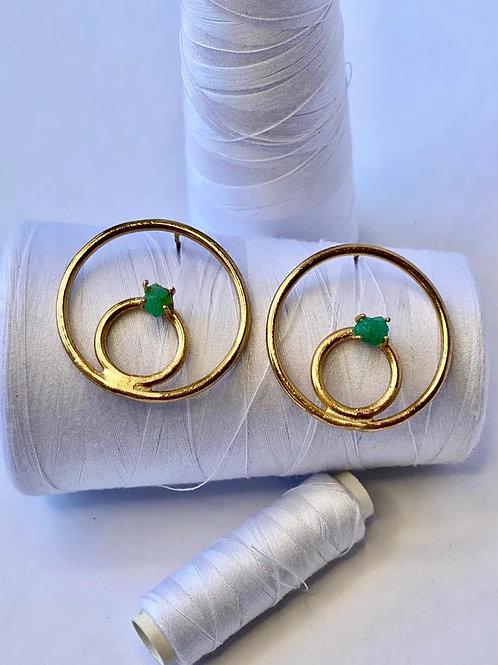 Emerald Multicircle Earring