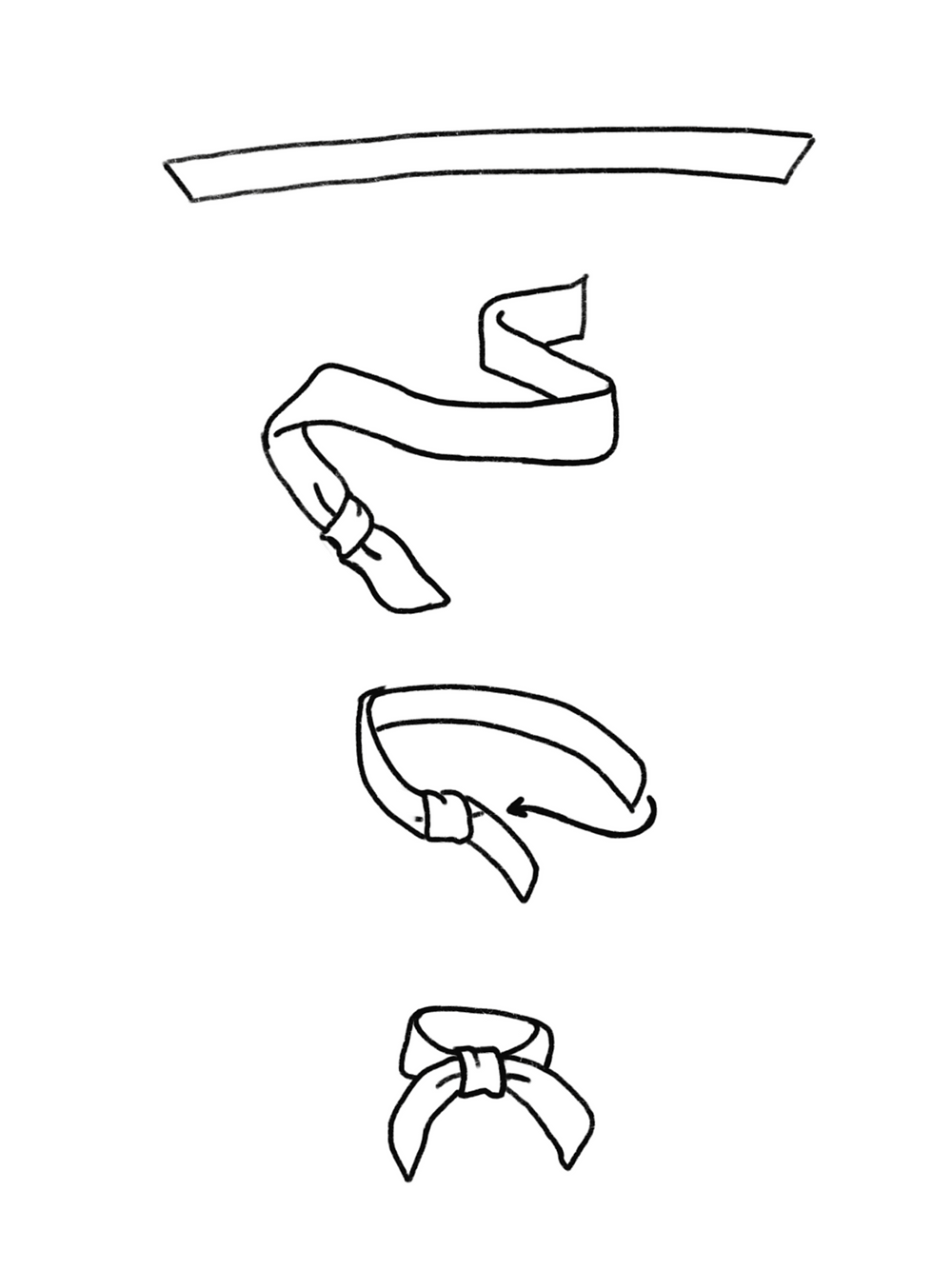 CARMENTA - drawing of scarf fake knot tutorial, Costa Rica design and art printed on fabric