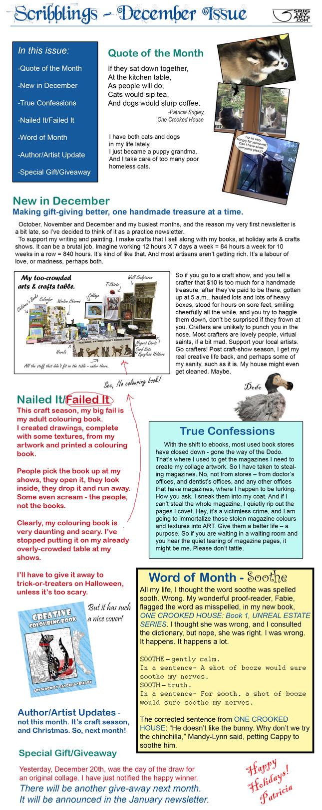 December Newsletter or Blogletter