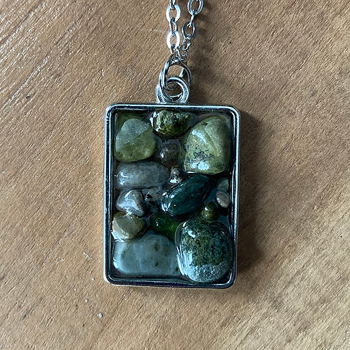 Stone/Resin Necklace -  Silver Chain