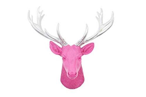 Deer Head - Large - Magenta & Silver