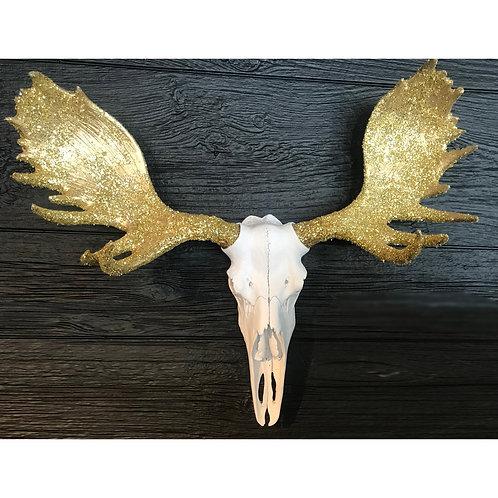 Moose Skull - White & Gold Glitter