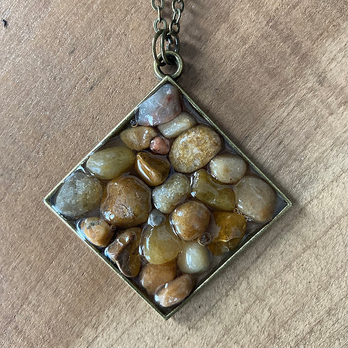 Stone/Resin Necklace - Brass Chain