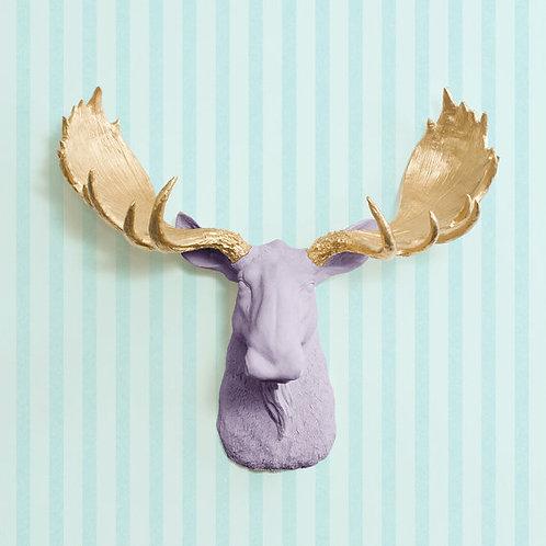 Moose Head - Large - Lavender & Gold