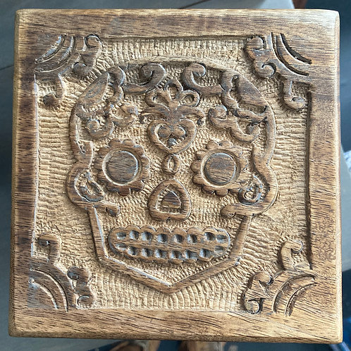 Day of the Dead Skull Wood Box