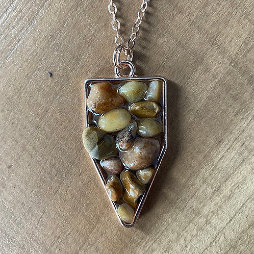 Stone/Resin Necklace -  Rosegold Chain