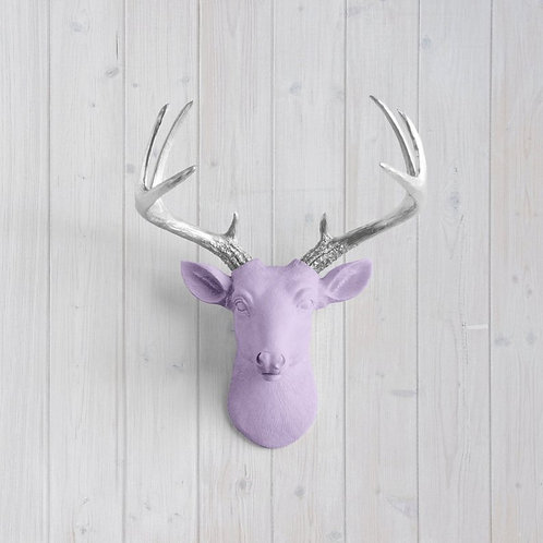 Deer Head - Small - Lavender & Silver