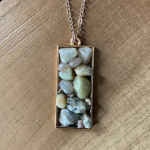 Stone/Resin Necklace -  Gold Chain