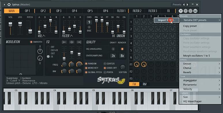 Free FL Studio sytrus presets, importing DX7 FM bank