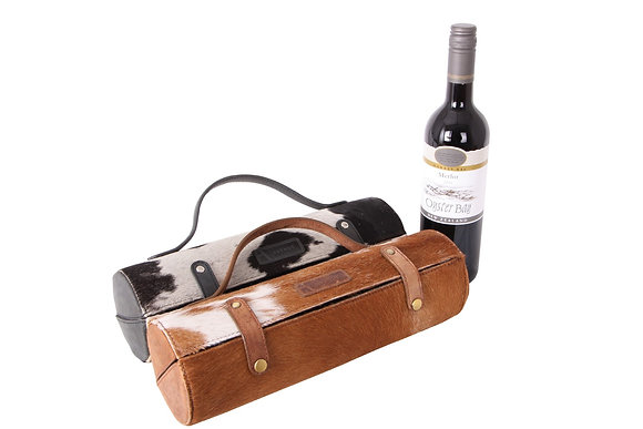 Cowhide Leather Wine Carrier