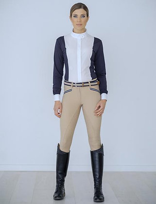 Beige breech with navy tape