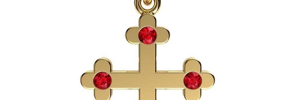 Pendant shamrock cross 14kt yellow gold with Rubies