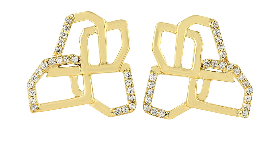 Butterfly earrings 14kt yellow gold with white Sapphires