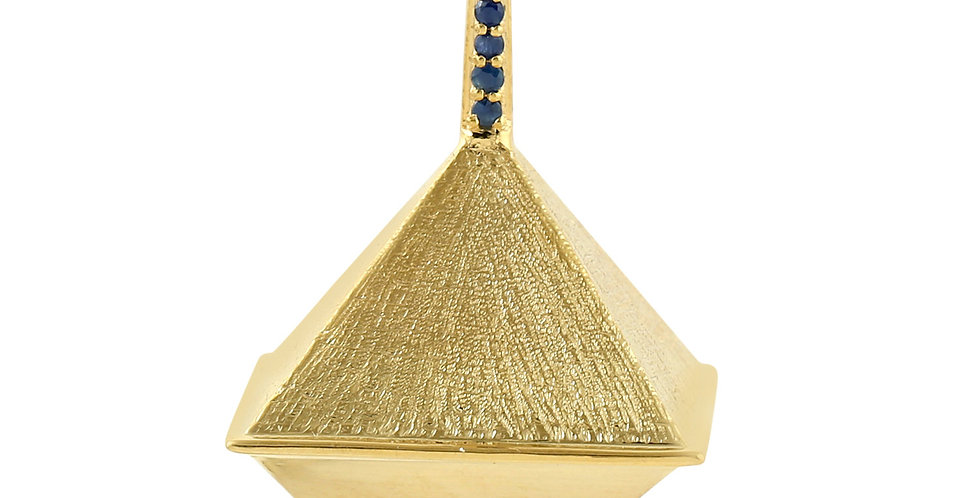 Pyramide pendant 14kt yellow gold with blue Sapphires