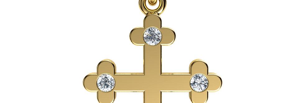 Pendant shamrock cross 14kt yellow gold with Diamonds