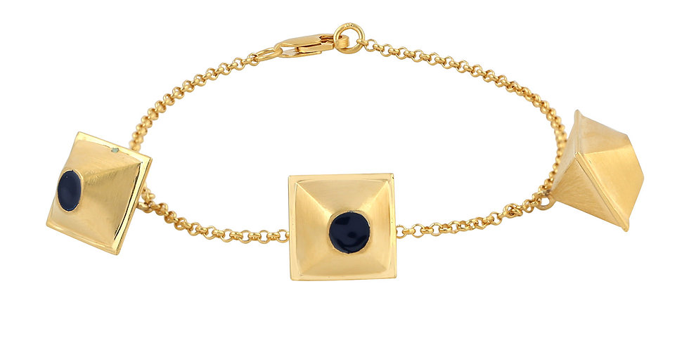 Pyramide bracelet 14kt yellow gold with blue Enamel