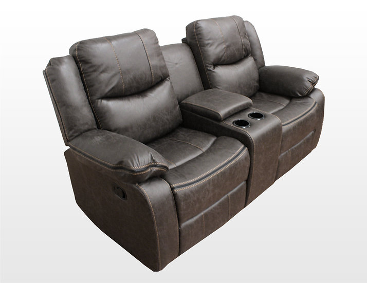 Love seat con 2 reclinables y consola central 9824