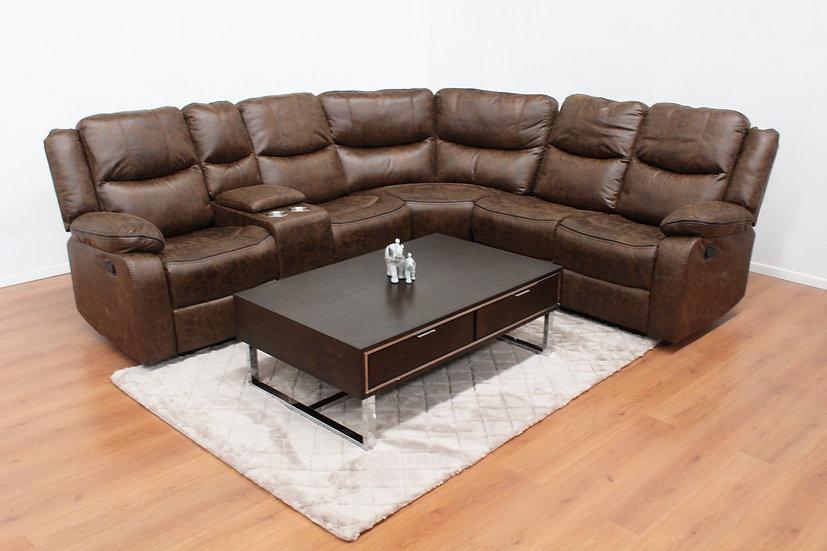Sala seccional con 2 reclinables y consola central