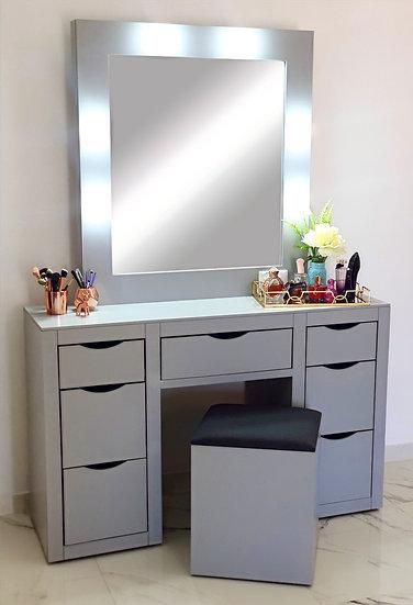 Vanity con espejo y banco