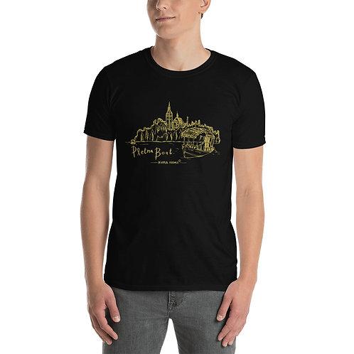 Pletna Boat Hand Sketch Slovenia Tee - Short-Sleeve Unisex T-Shirt (Gold)