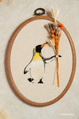 Handmade Embroidery - Penguin with Dried