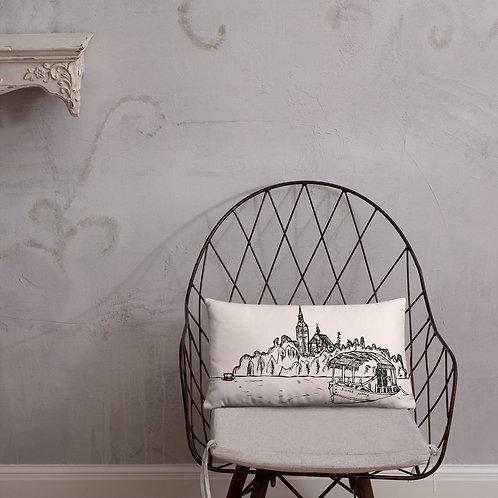 Pletna Boat - Pink Pillow 20''x12'' - Slovenia Cushion - Wedding Gift