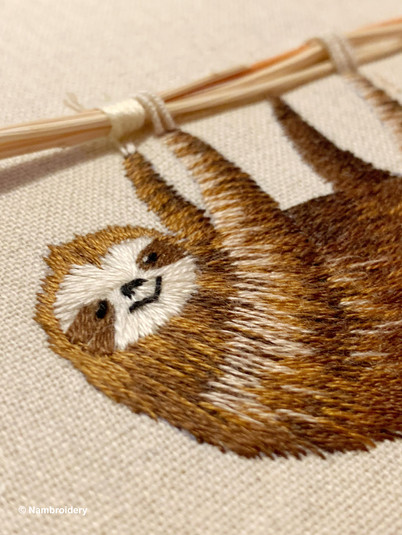 Handmade Embroidery - Sloth with Dried F