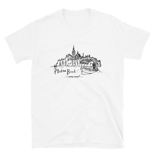 Pletna Boat Hand Sketch Slovenia Tee - Short-Sleeve Unisex T-Shirt (Black)