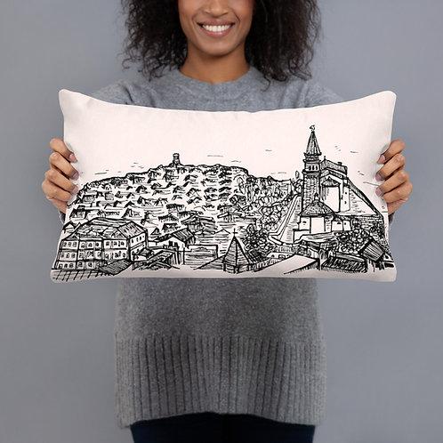 "Piran Coast Pillow - Pink 20"" X 12"" - Slovenia Cushion - Wedding Gift"