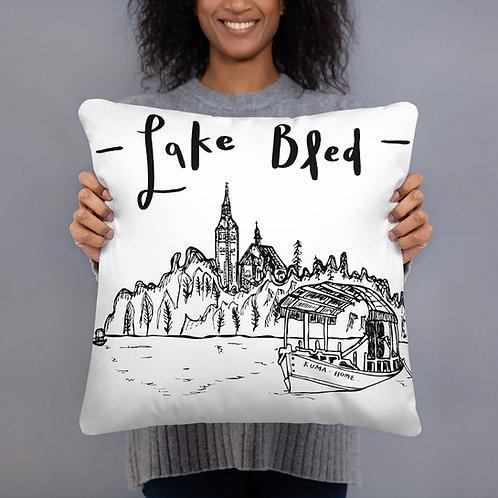 """Bled Island Pillow 18""""X18""""  - Slovenia Cushion - Wedding Gift"""